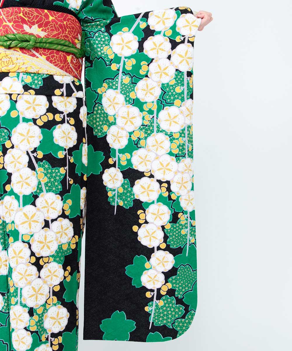 |送料無料|【レンタル】【成人式】 [安心の長期間レンタル]【対応身長150cm〜165cm】【正絹】レンタル振袖フルセット-394|花柄|レトロ|