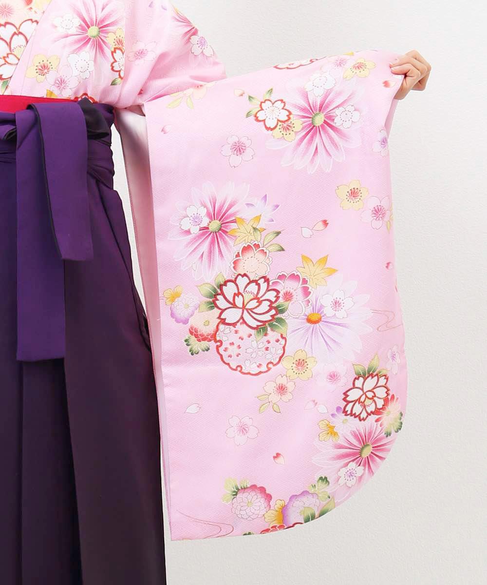 |送料無料|【対応身長157cm〜165cm】【キュート】卒業式レンタル袴フルセット-1003|マルチカラー|花柄|桜|ピンク|紫|
