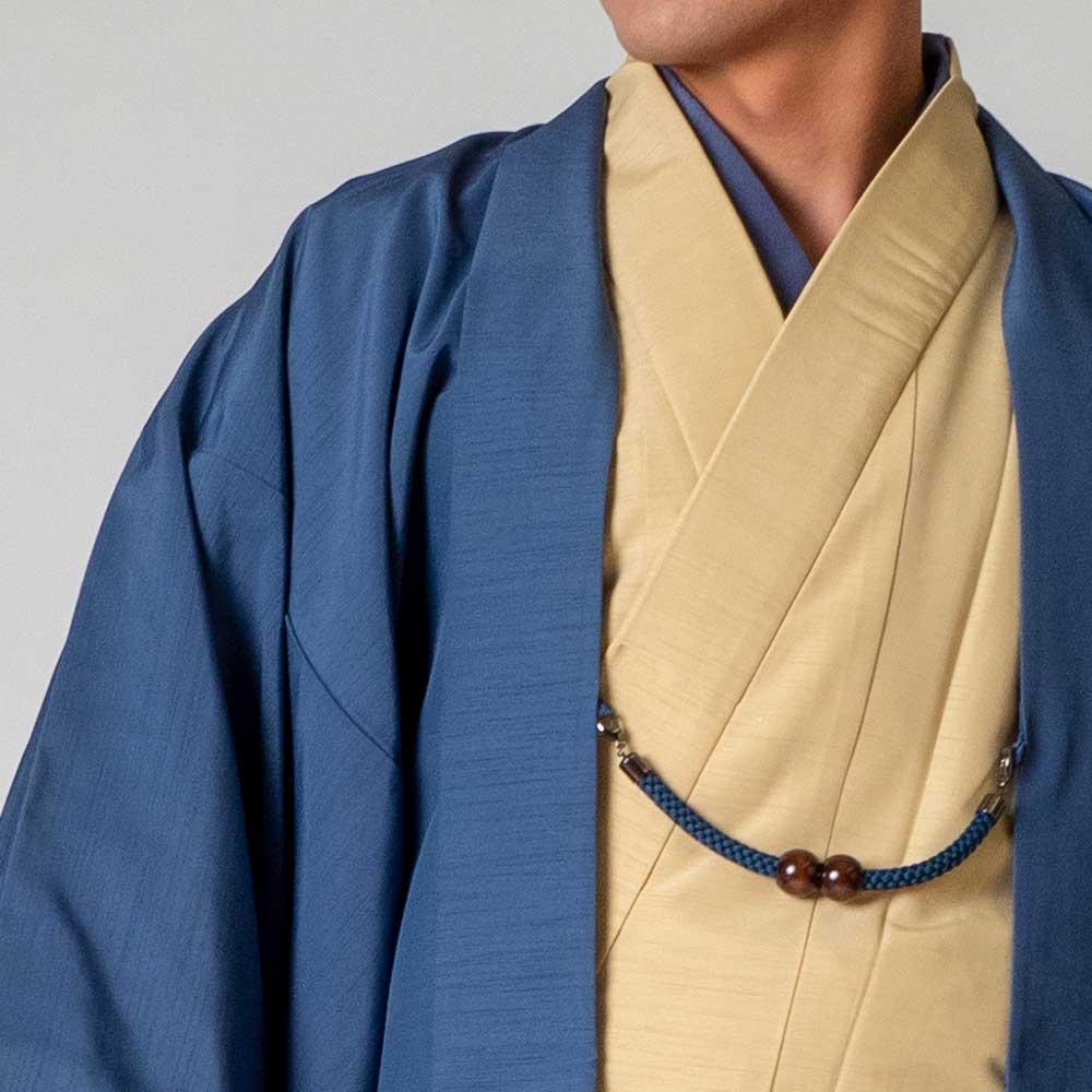 |送料無料|メンズ着物アンサンブル【対応身長170cm〜180cm】【 Lサイズ】フルセットー着物アイボリー×羽織ブルー|往復送料無料|和服|