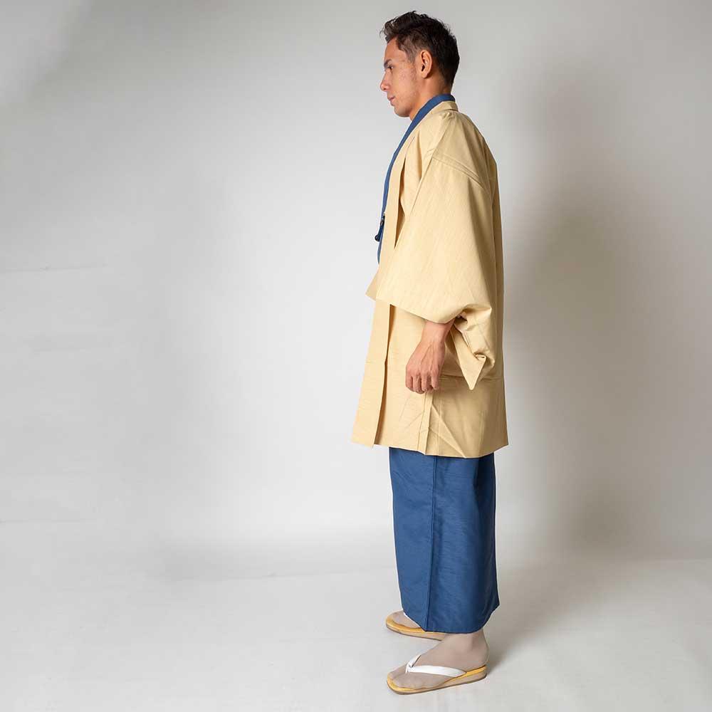  送料無料 メンズ着物アンサンブル【対応身長180cm〜190cm】【 3Lサイズ】フルセットー着物ブルー×羽織アイボリー 往復送料無料 和服 