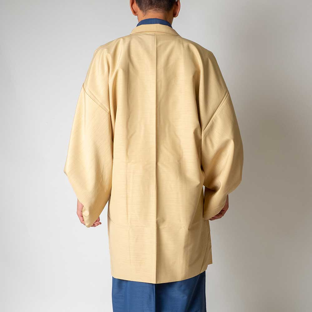 |送料無料|メンズ着物アンサンブル【対応身長165cm〜175cm】【 Mサイズ】フルセットー着物ブルー×羽織アイボリー|往復送料無料|和服|