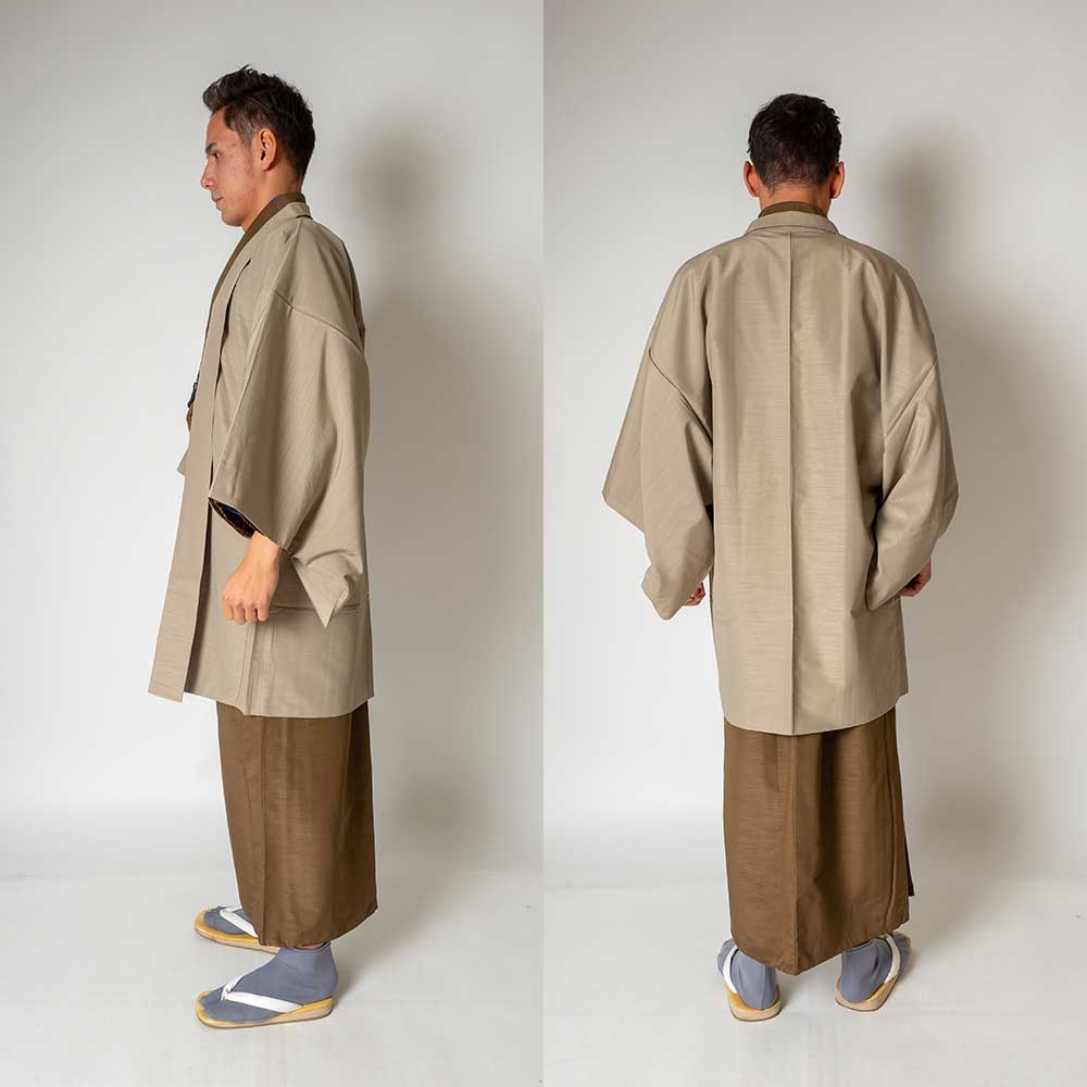 |送料無料|メンズ着物アンサンブル【対応身長160cm〜170cm】【 Sサイズ】フルセットー着物ブラウン×羽織ベージュ|往復送料無料|和服|