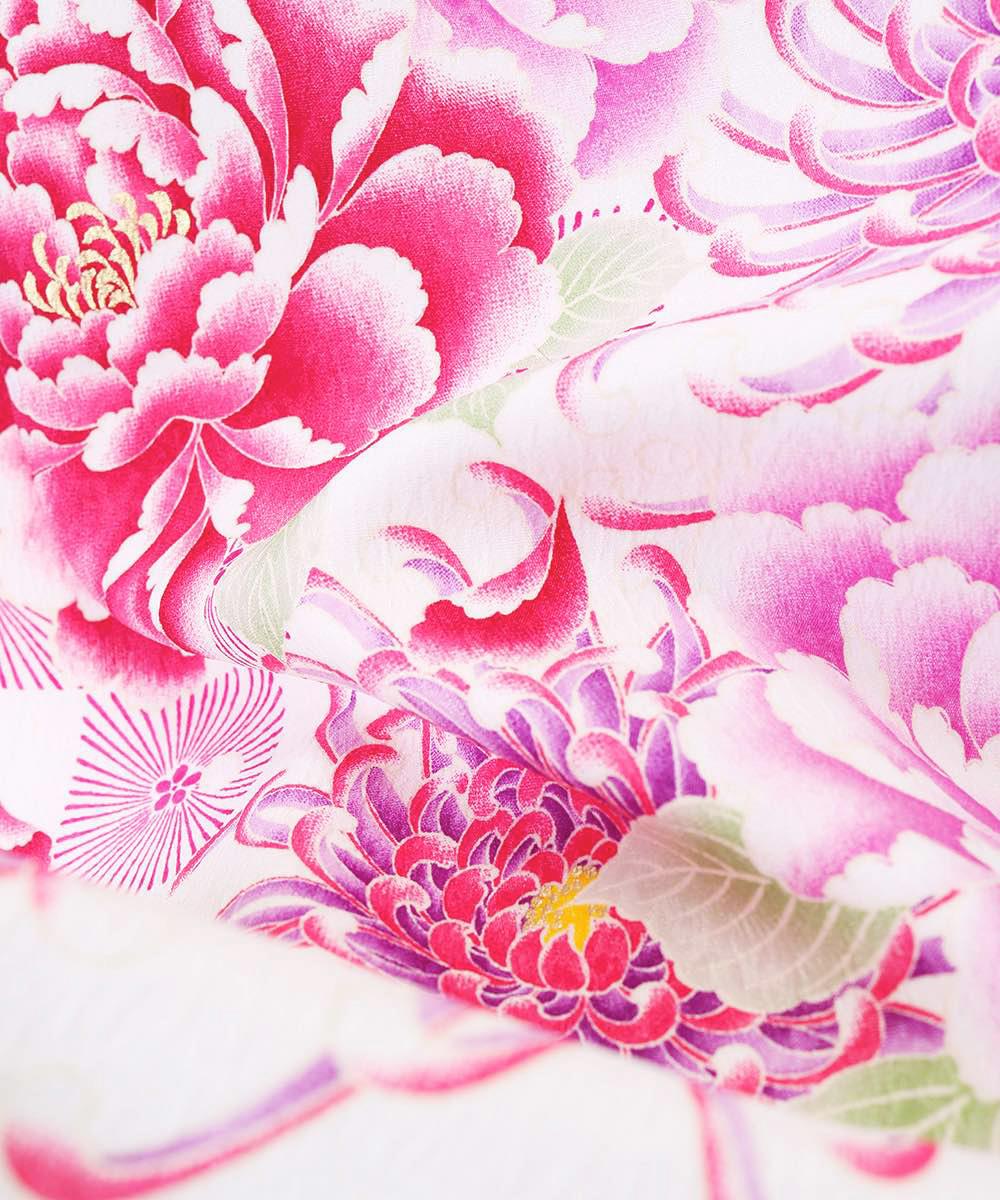 【h】 送料無料 【対応身長157cm〜165cm】【正統派】卒業式レンタル袴フルセット-1007 マルチカラー 花柄 牡丹 白 紫 