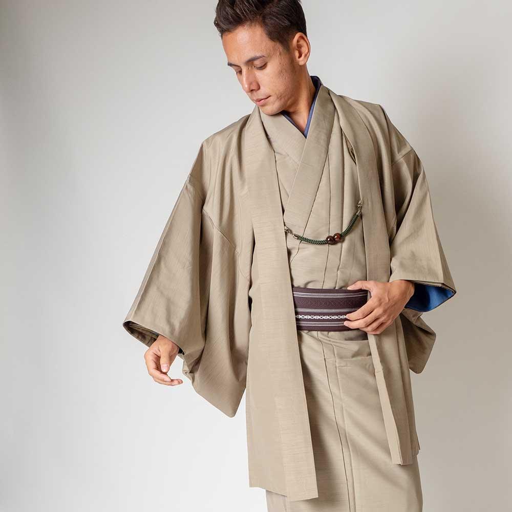 |送料無料|メンズ着物アンサンブル【対応身長175cm〜185cm】【 LLサイズ】フルセットー着物ベージュ×羽織ベージュ|往復送料無料|和服|