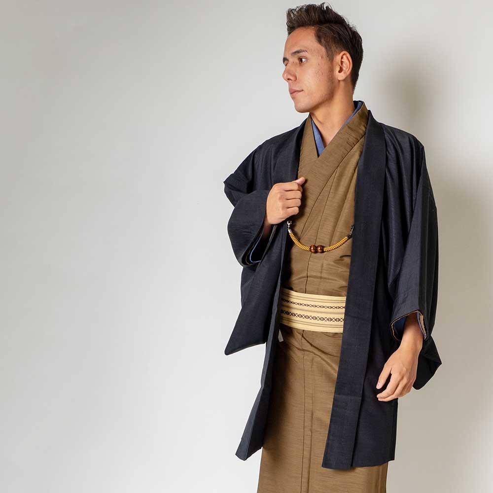 |送料無料|メンズ着物アンサンブル【対応身長175cm〜185cm】【 LLサイズ】フルセットー着物ブラウン×羽織ブラック|往復送料無料|和服|