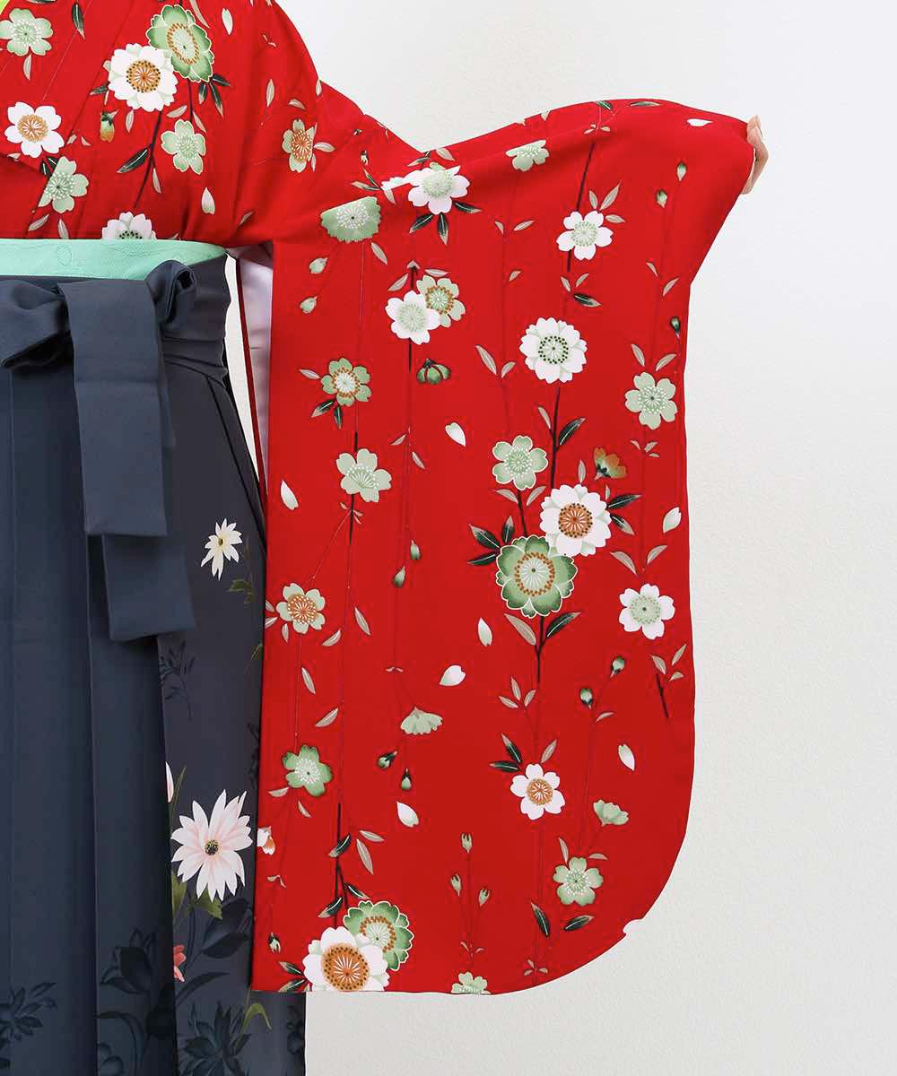 |送料無料|【対応身長150cm〜157cm】【キュート】卒業式レンタル袴フルセット-833|マルチカラー|花柄|桜|赤|緑|グレー|