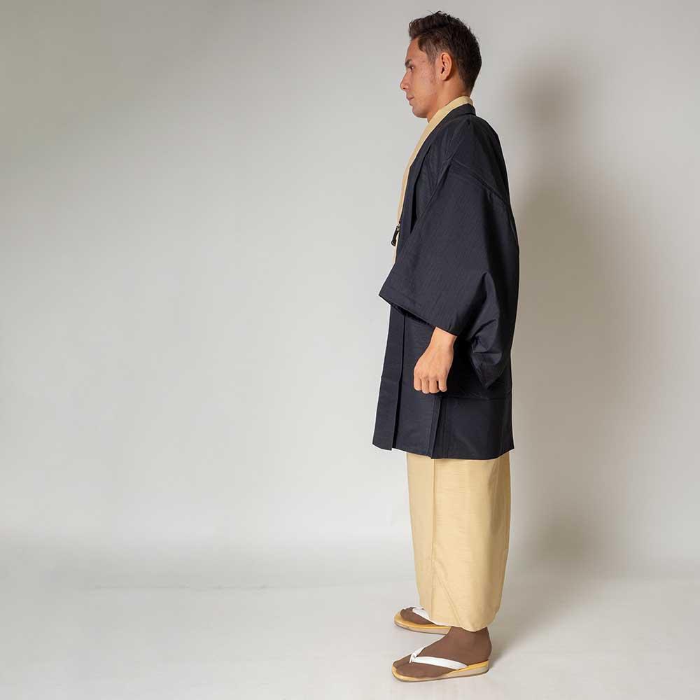 |送料無料|メンズ着物アンサンブル【対応身長170cm〜180cm】【 Lサイズ】フルセットー着物アイボリー×羽織ブラック|往復送料無料|和服
