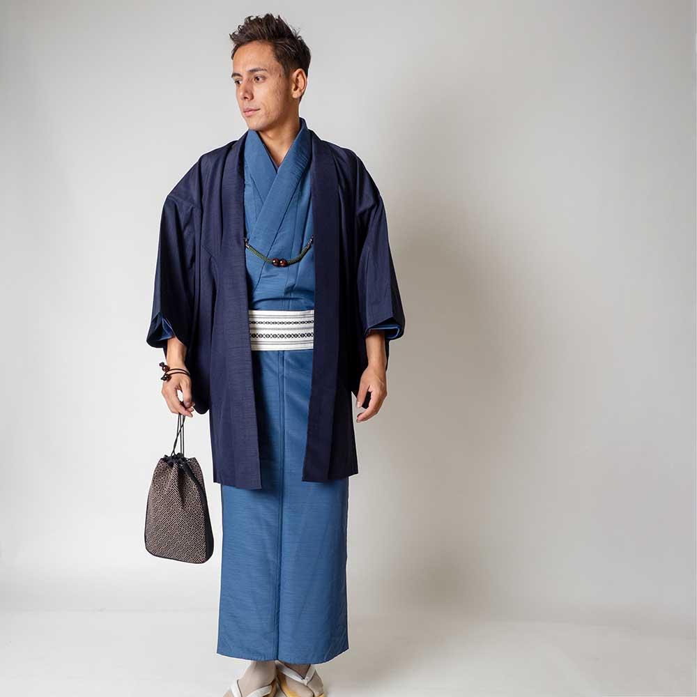 |送料無料|メンズ着物アンサンブル【対応身長180cm〜190cm】【 3Lサイズ】フルセットー着物ブルー×羽織ネイビー|往復送料無料|和服|お