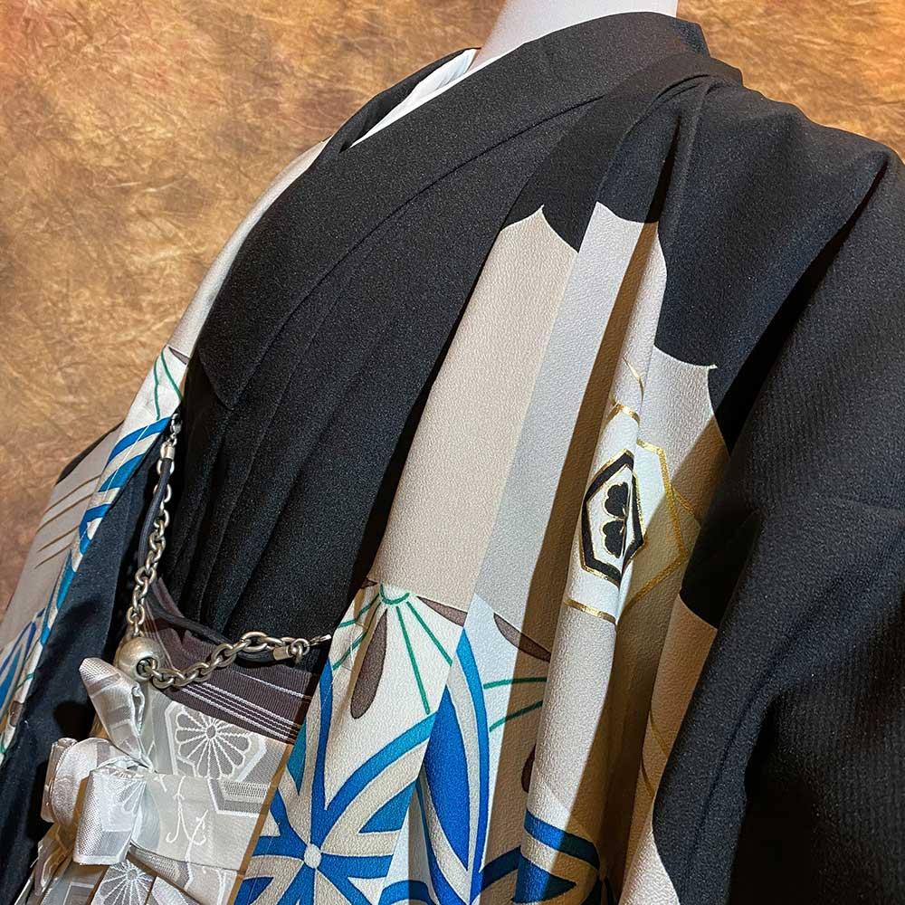 |送料無料|【レンタル】【成人式】安心の最大1ヶ月レンタル可能 男性用レンタル紋付き袴フルセット-7426