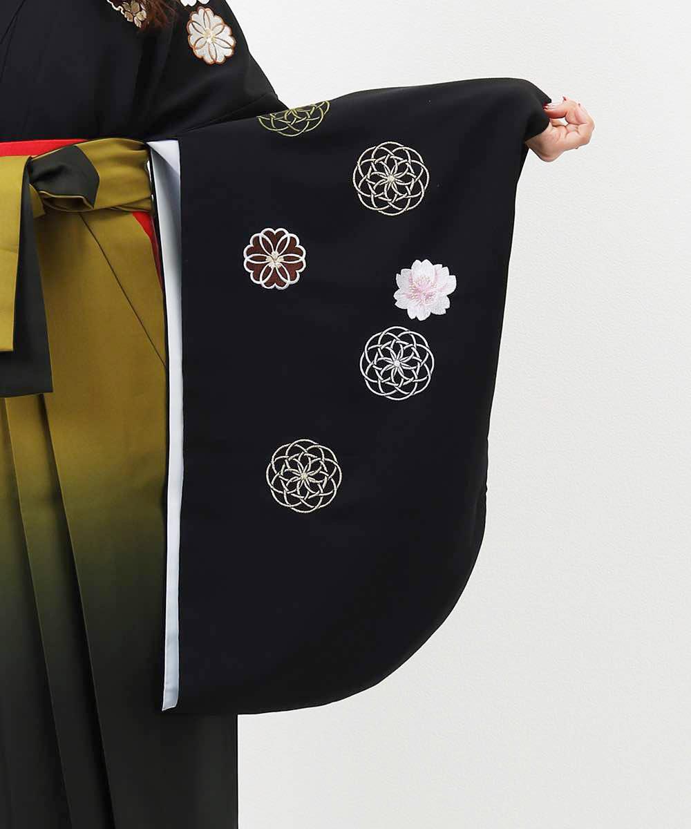 |送料無料|【対応身長157cm〜165cm】【レトロ】卒業式レンタル袴フルセット-1010|マルチカラー|花柄|桜|黒|緑|