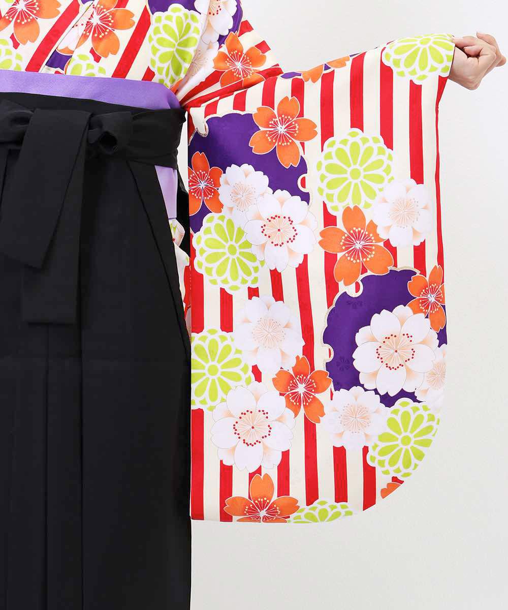 【h】|送料無料|【対応身長157cm〜165cm】【キュート】卒業式レンタル袴フルセット-1254|マルチカラー|花柄|桜|ストライプ|オレンジ|