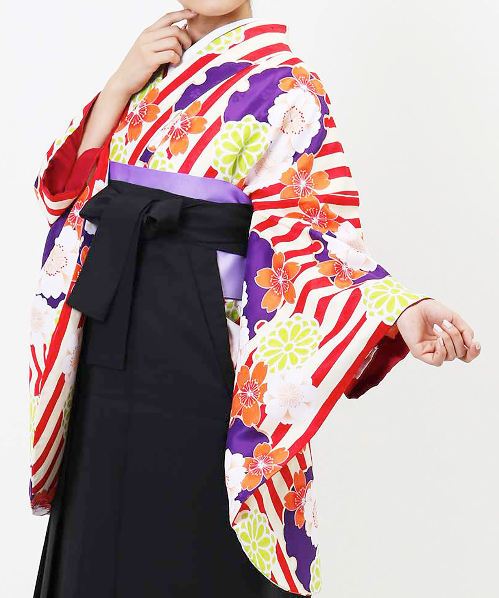 |送料無料|【対応身長157cm〜165cm】【キュート】卒業式レンタル袴フルセット-1254|マルチカラー|花柄|桜|ストライプ|オレンジ|