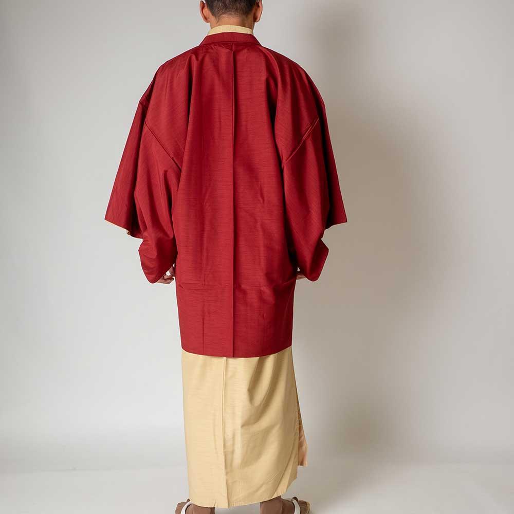 |送料無料|メンズ着物アンサンブル【対応身長170cm〜180cm】【 Lサイズ】フルセットー着物アイボリー×羽織レッド|往復送料無料|和服|
