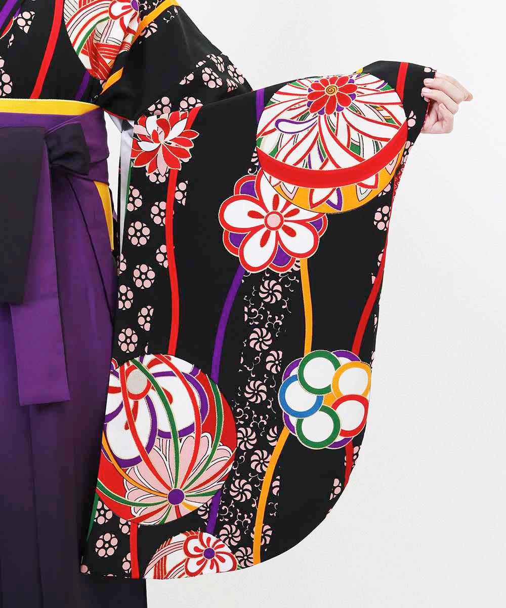 【h】|送料無料|【対応身長157cm〜165cm】【正統派】卒業式レンタル袴フルセット-1255|マルチカラー|花柄|桜|鞠|黒|オレンジ|紫|