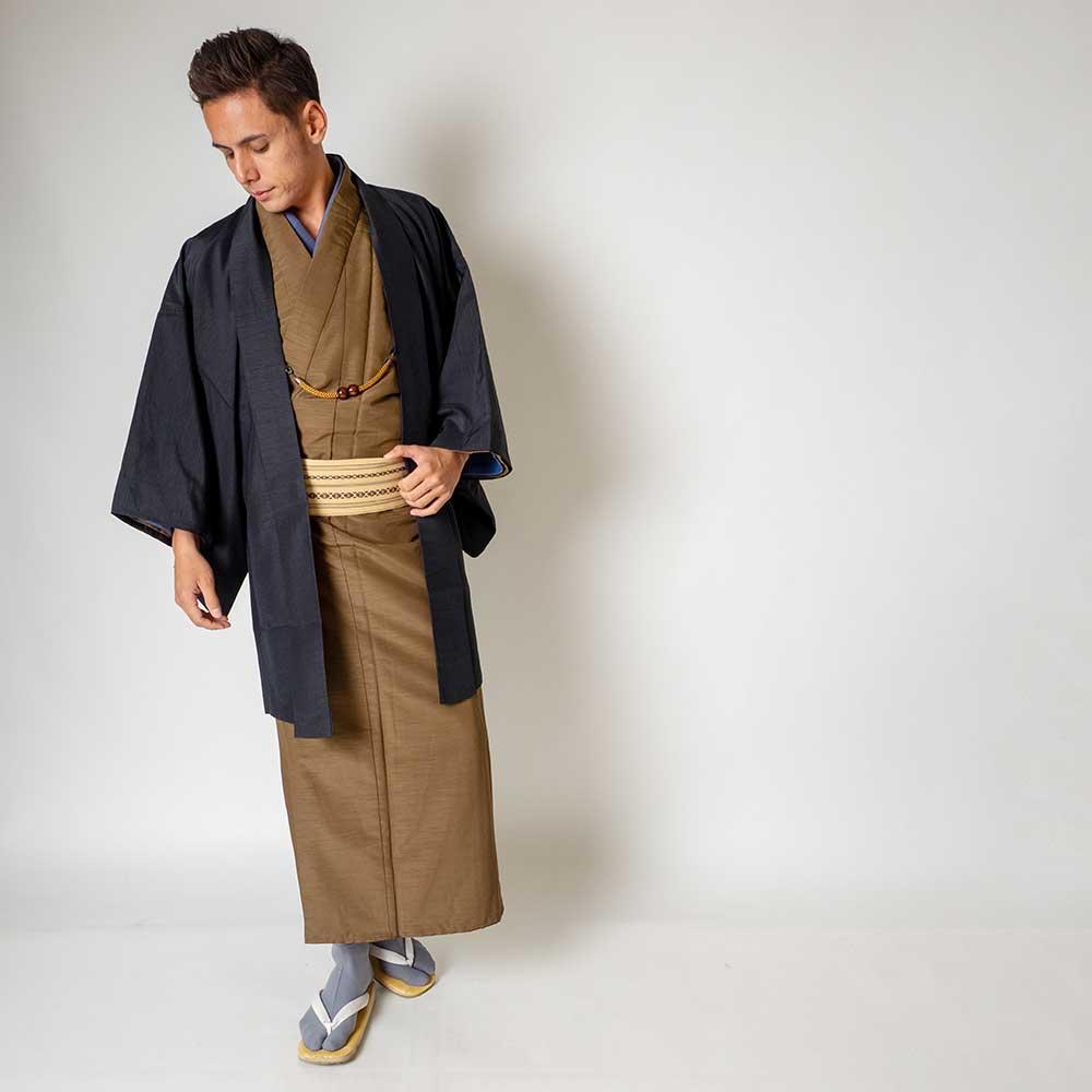 |送料無料|メンズ着物アンサンブル【対応身長160cm〜170cm】【 Sサイズ】フルセットー着物ブラウン×羽織ブラック|往復送料無料|和服|