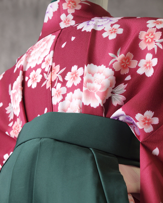 |送料無料|【対応身長157cm〜165cm】【正統派】卒業式レンタル袴フルセット-1031|花柄|牡丹|ワイン|緑|