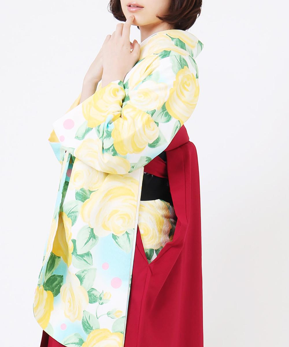 |送料無料|【対応身長157cm〜165cm】【キュート】卒業式レンタル袴フルセット-1149|マルチカラー|花柄|洋花|水色|黄色|緑|臙脂