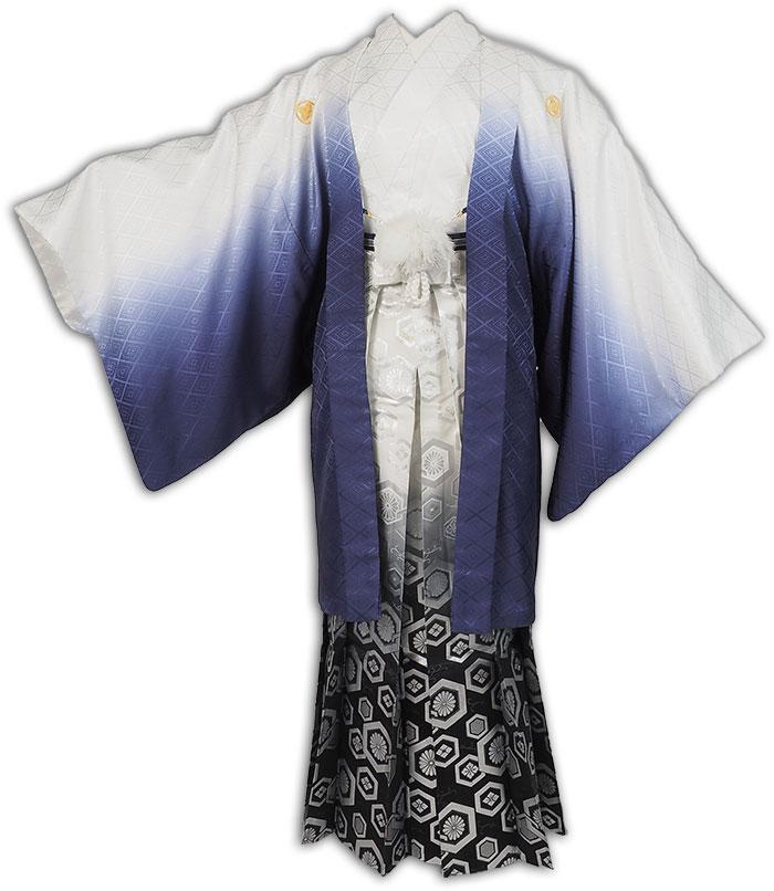  送料無料 【成人式・卒業式】男性用レンタル紋付き袴フルセット-7299