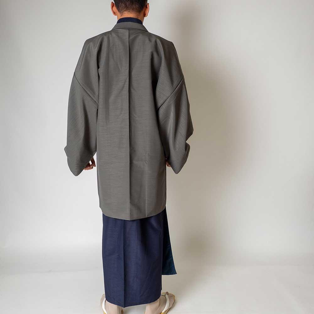 |送料無料|メンズ着物アンサンブル【対応身長170cm〜180cm】【 Lサイズ】フルセットー着物ネイビー×羽織グレー|往復送料無料|和服|お