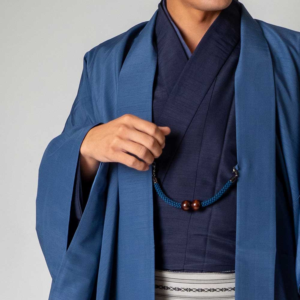 |送料無料|メンズ着物アンサンブル【対応身長170cm〜180cm】【 Lサイズ】フルセットー着物ネイビー×羽織ブルー|往復送料無料|和服|お