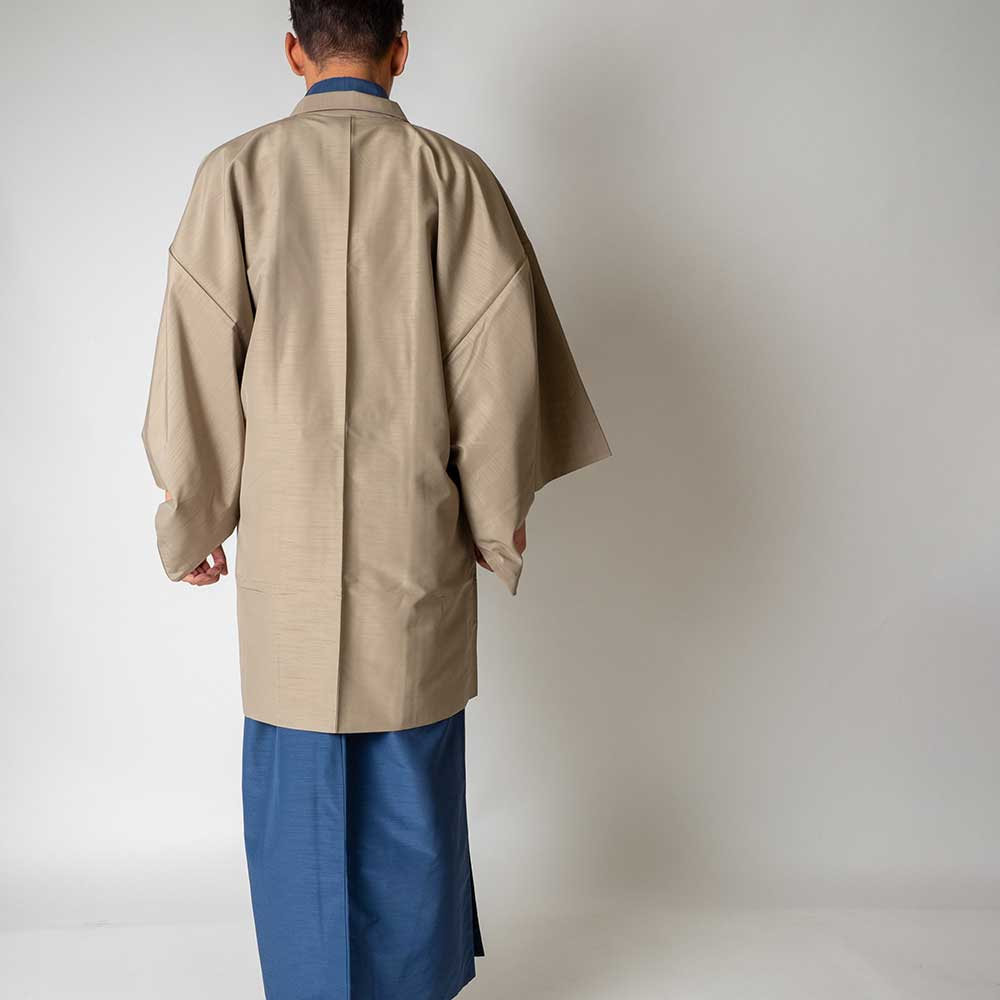 |送料無料|メンズ着物アンサンブル【対応身長180cm〜190cm】【 3Lサイズ】フルセットー着物ブルー×羽織ベージュ|往復送料無料|和服|お