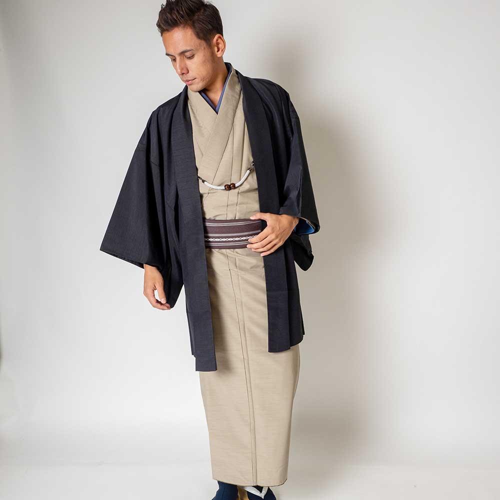 |送料無料|メンズ着物アンサンブル【対応身長180cm〜190cm】【 3Lサイズ】フルセットー着物ベージュ×羽織ブラック|往復送料無料|和服|