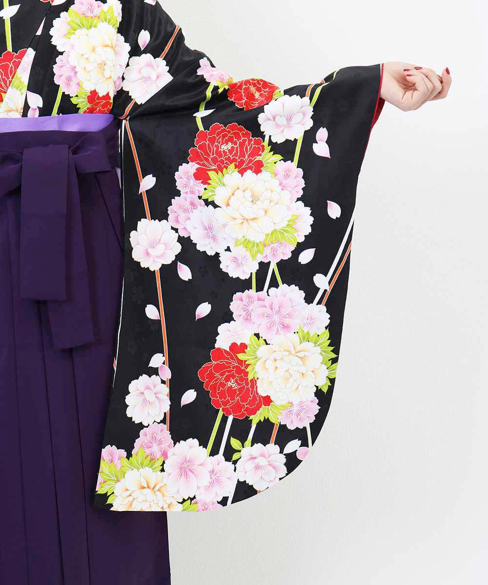 【h】|送料無料|【対応身長157cm〜165cm】【正統派】卒業式レンタル袴フルセット-1258|マルチカラー|花柄|桜|牡丹|黒|紫|