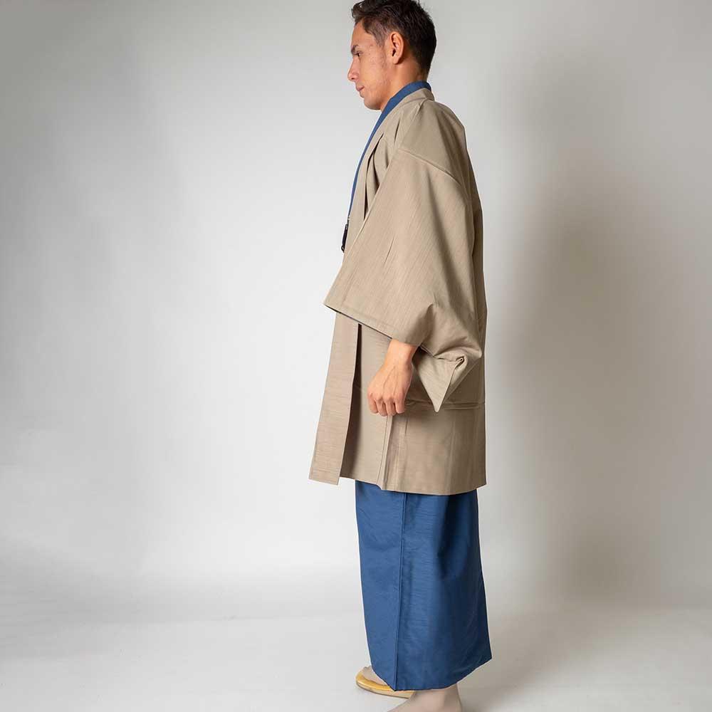 |送料無料|メンズ着物アンサンブル【対応身長165cm〜175cm】【 Mサイズ】フルセットー着物ブルー×羽織ベージュ|往復送料無料|和服|お