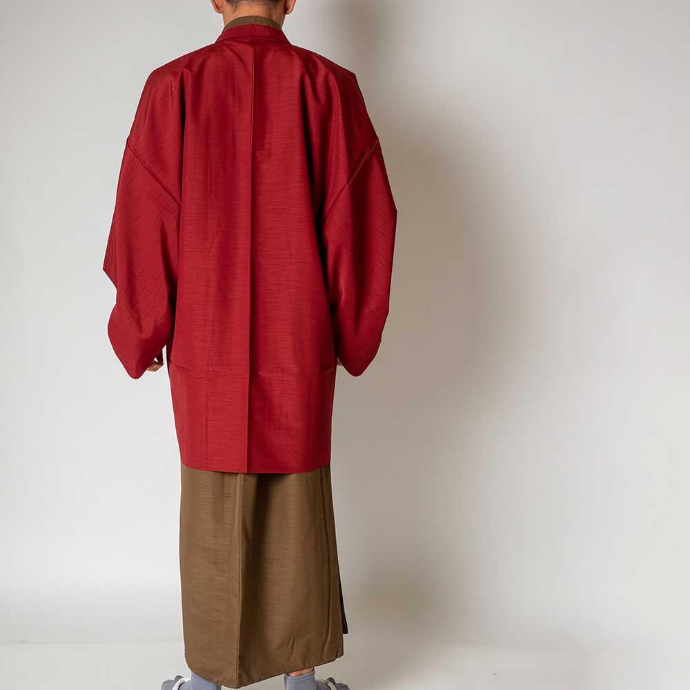 |送料無料|メンズ着物アンサンブル【対応身長165cm〜175cm】【 Mサイズ】フルセットー着物ブラウン×羽織レッド|往復送料無料|和服|お