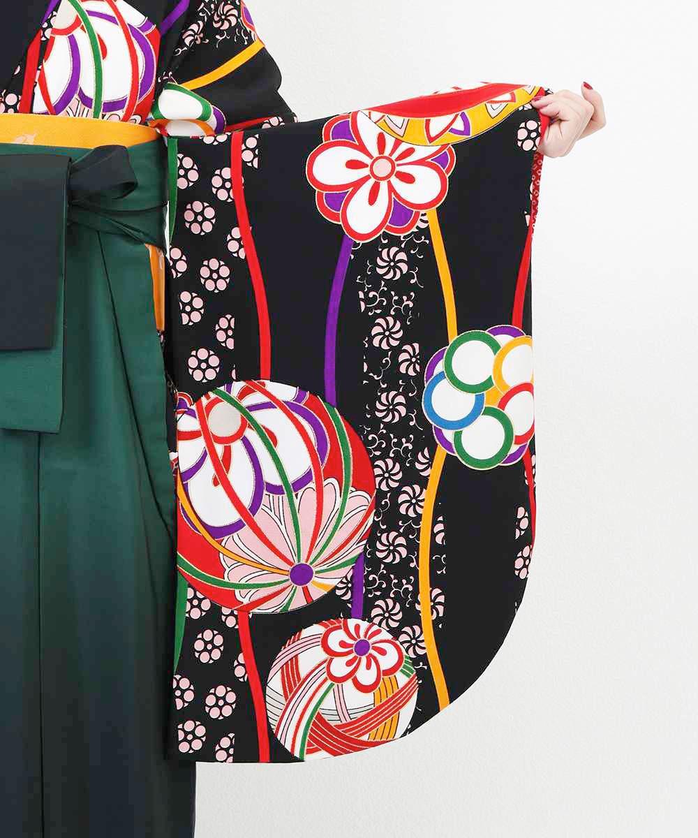 【h】|送料無料|【対応身長157cm〜165cm】【レトロ】卒業式レンタル袴フルセット-1259|マルチカラー|花柄|桜|ストライプ|黒|緑|