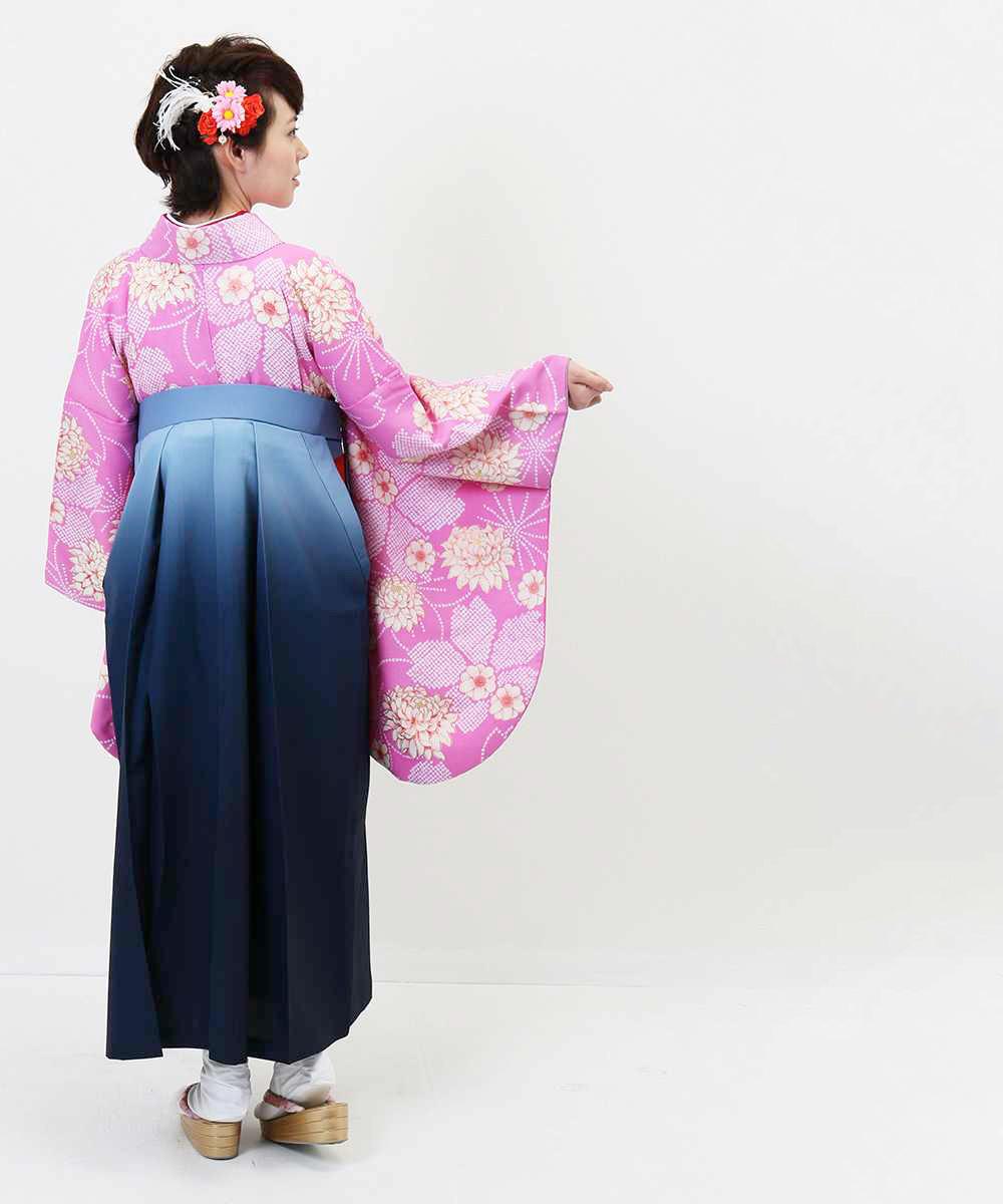 【h】|送料無料|【対応身長157cm〜165cm】【正統派】卒業式レンタル袴フルセット-840|マルチカラー|花柄|桜|ピンク|青|水色|