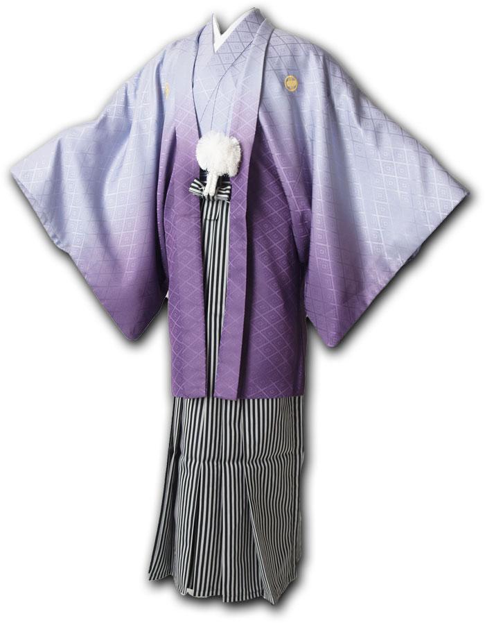 |送料無料|【成人式・卒業式】男性用レンタル紋付き袴フルセット-7042