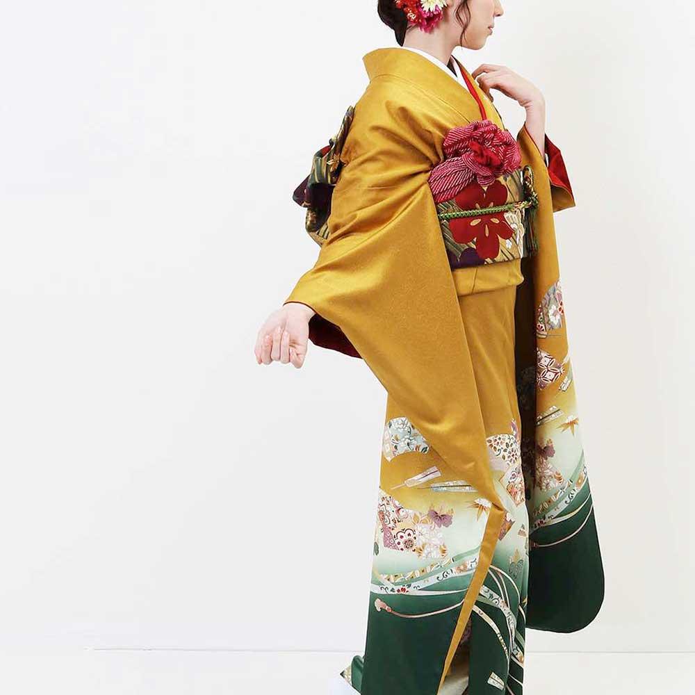 |送料無料|【レンタル】【成人式】 [安心の長期間レンタル]【対応身長150cm〜165cm】【正絹】レンタル振袖フルセット-038|花柄|レトロ|