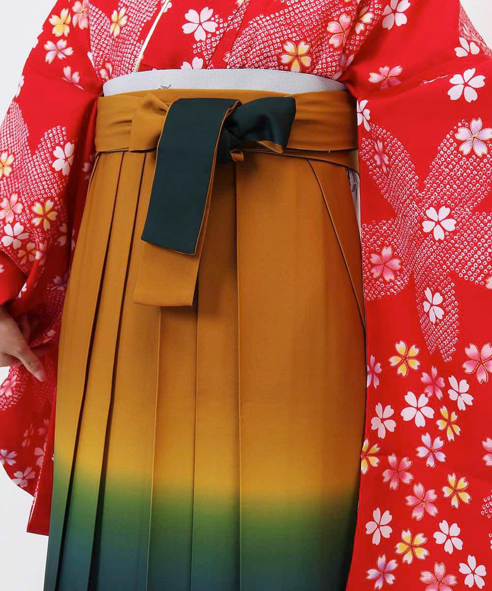 【h】 送料無料 【対応身長157cm〜165cm】【正統派】卒業式レンタル袴フルセット-1155 マルチカラー 花柄 桜 赤 からし色 緑 