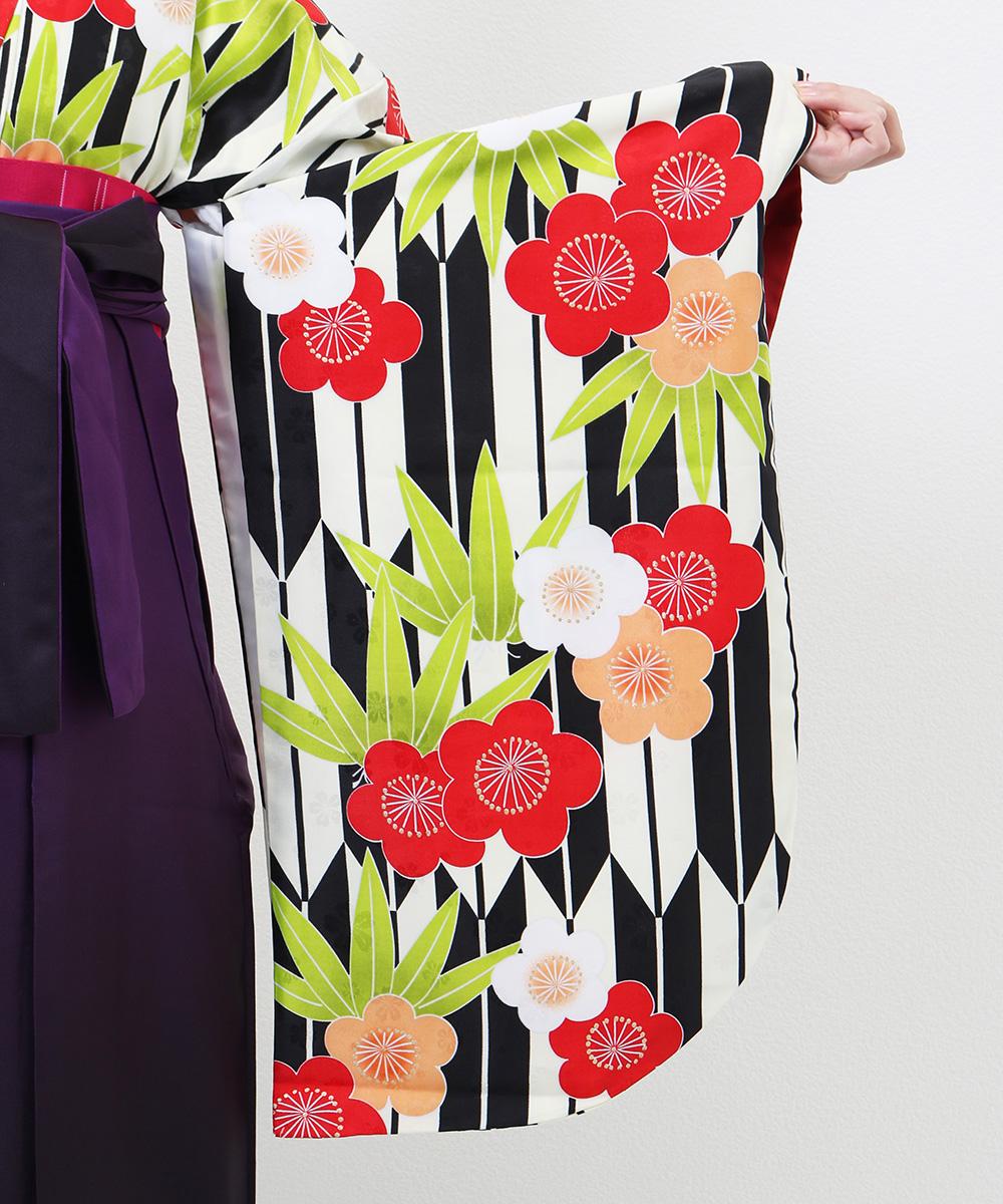|送料無料|【対応身長157cm〜165cm】【レトロ】卒業式レンタル袴フルセット-1260|マルチカラー|花柄|梅|松|白|黒|赤|緑|紫|