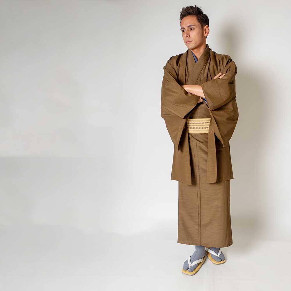 |送料無料|メンズ着物アンサンブル【対応身長175cm〜185cm】【 LLサイズ】フルセットー着物ブラウン×羽織ブラウン|往復送料無料|和服|