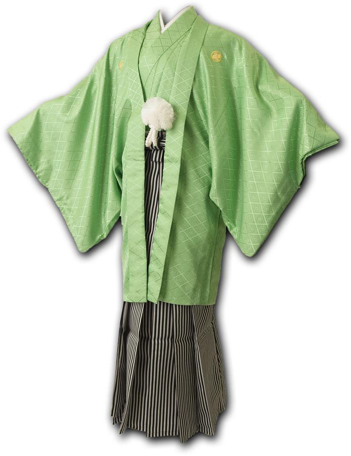 |送料無料|【成人式・卒業式】男性用レンタル紋付き袴フルセット-7043