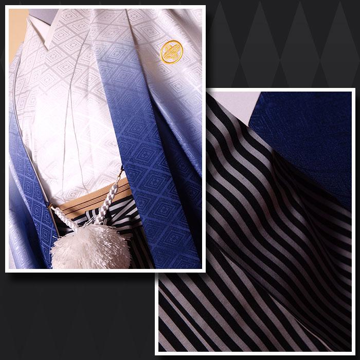 |送料無料|【成人式・卒業式】男性用レンタル紋付き袴フルセット-7205