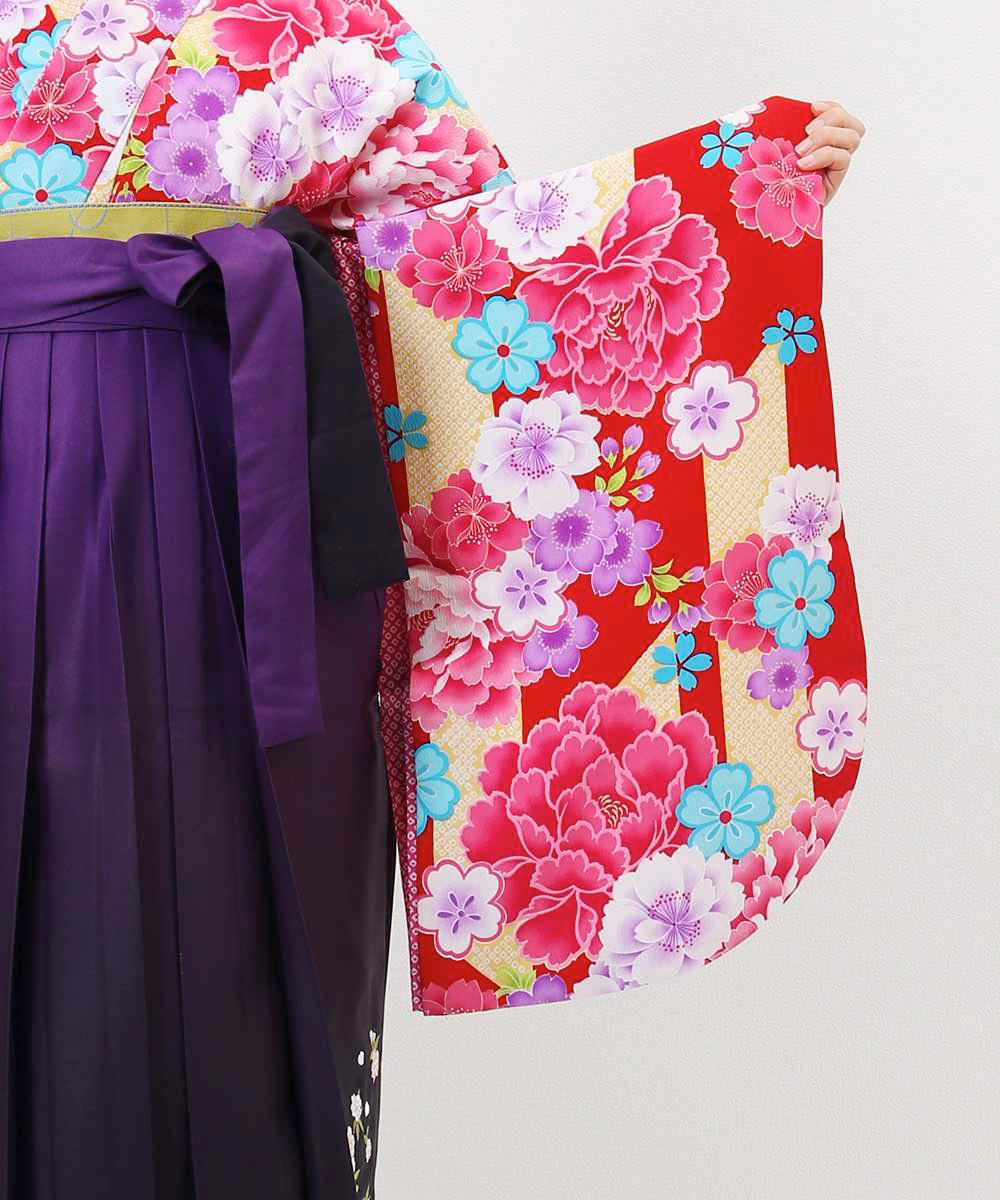 【h】|送料無料|【対応身長157cm〜165cm】【キュート】卒業式レンタル袴フルセット-976|マルチカラー|花柄|牡丹|赤|黄色|紫|