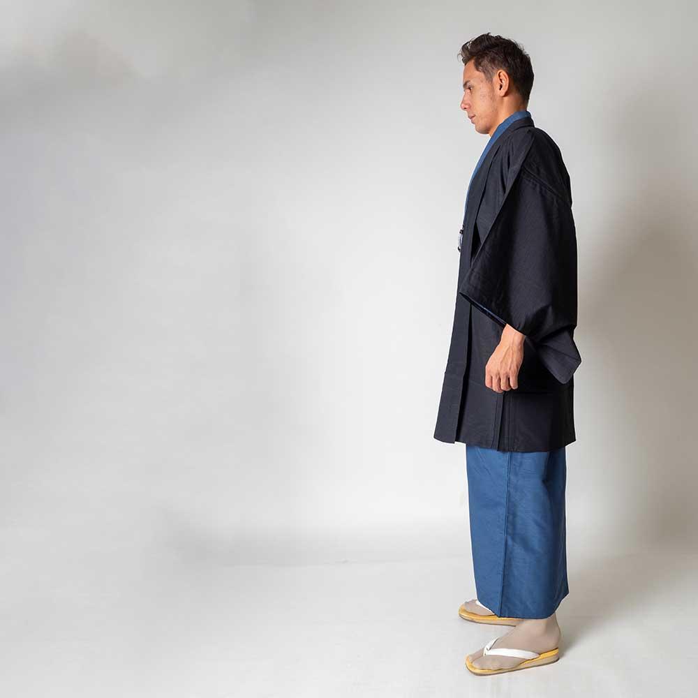 |送料無料|メンズ着物アンサンブル【対応身長180cm〜190cm】【 3Lサイズ】フルセットー着物ブルー×羽織ブラック|往復送料無料|和服|お