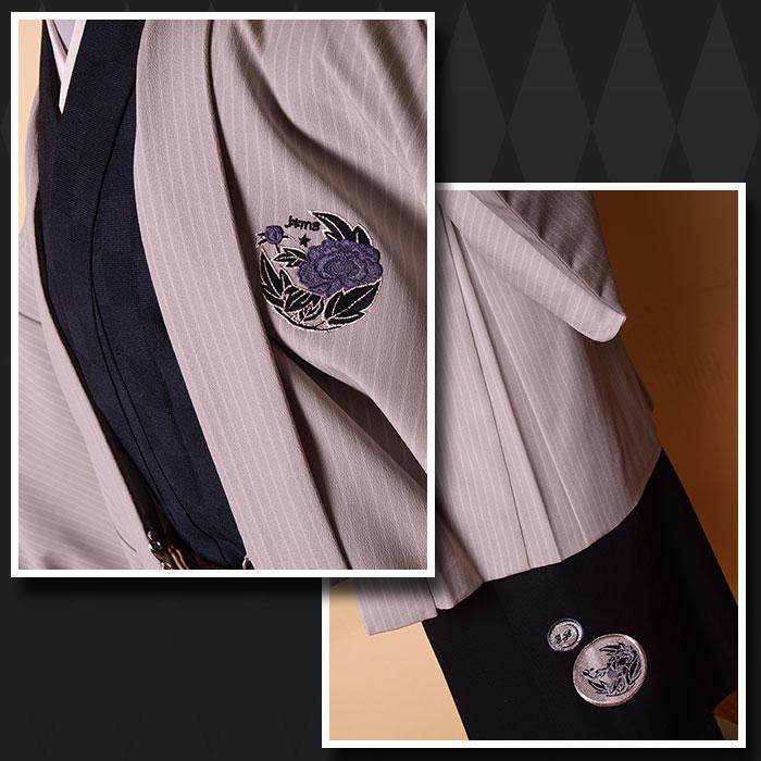 |送料無料|【成人式・卒業式】男性用レンタル紋付き袴フルセット-7206