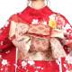 【成人式】 [安心の長期間レンタル]【対応身長155cm〜170cm】【合繊】レンタル振袖フルセット-819|ポップキュート|桜|赤系|地模様|かわいい