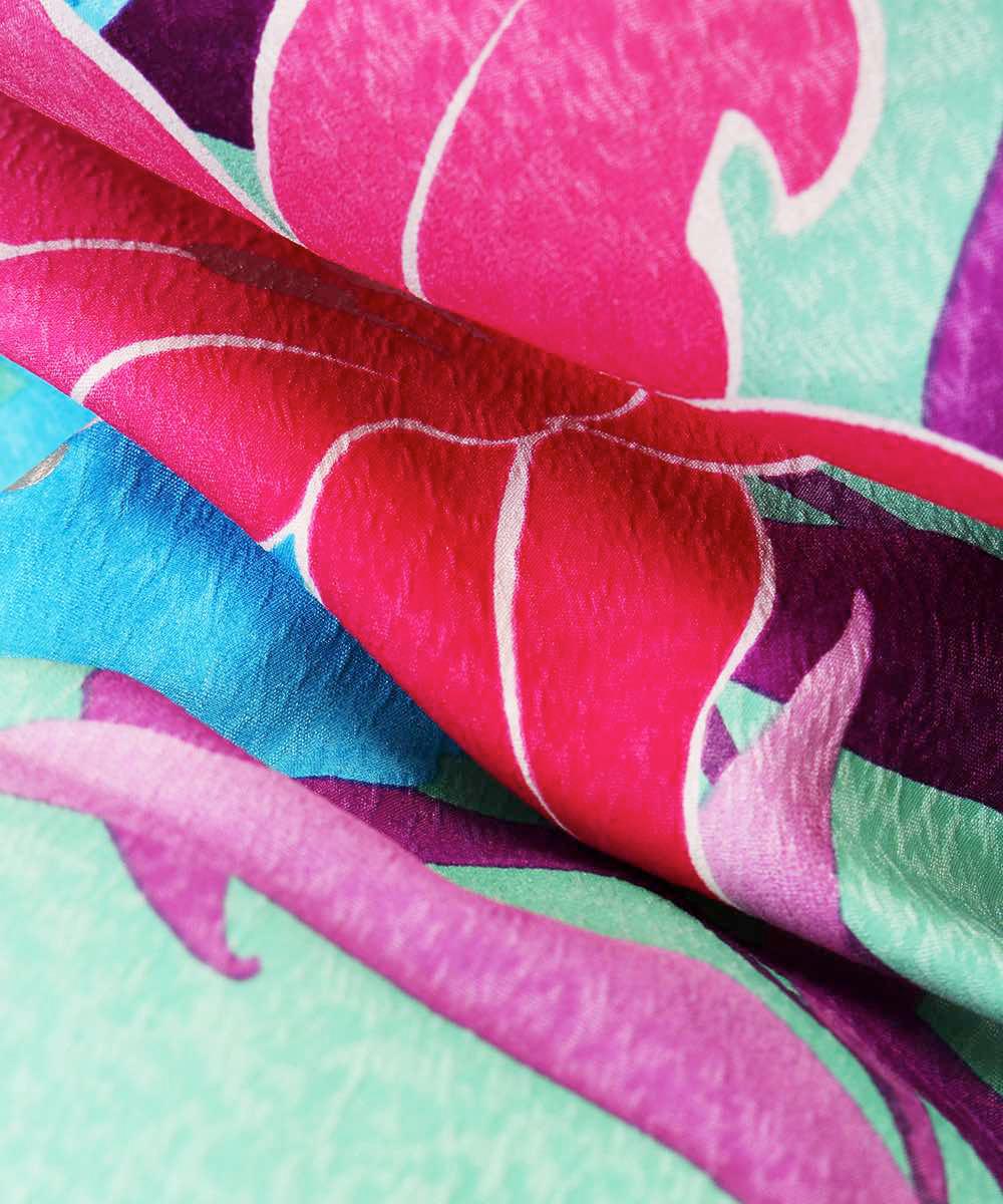【h】|送料無料|【対応身長157cm〜165cm】【正統派】卒業式レンタル袴フルセット-1019|マルチカラー|花柄|百合|緑|水色|臙脂|