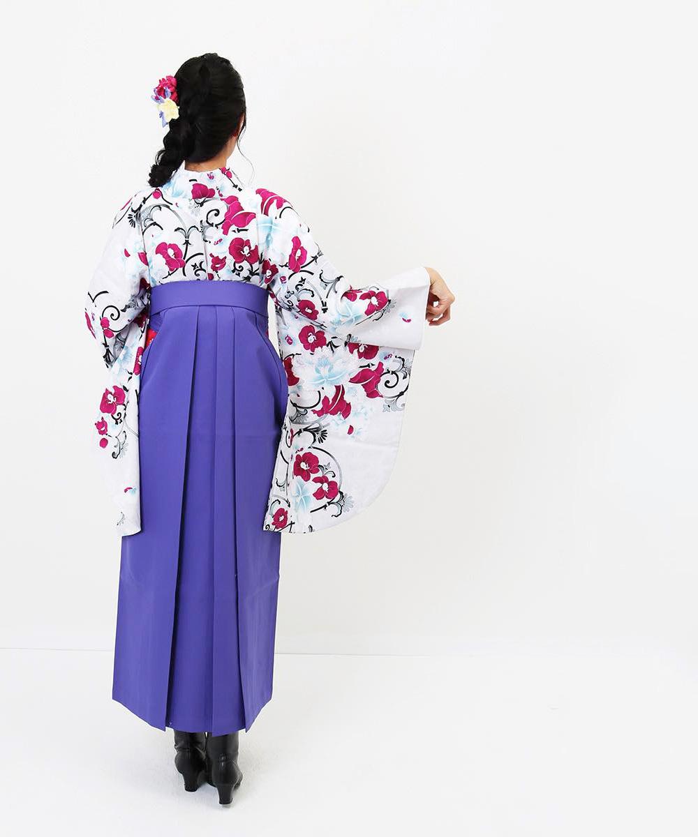 |送料無料|【対応身長157cm〜165cm】【キュート】卒業式レンタル袴フルセット-977|マルチカラー|花柄|蘭|白|紫|