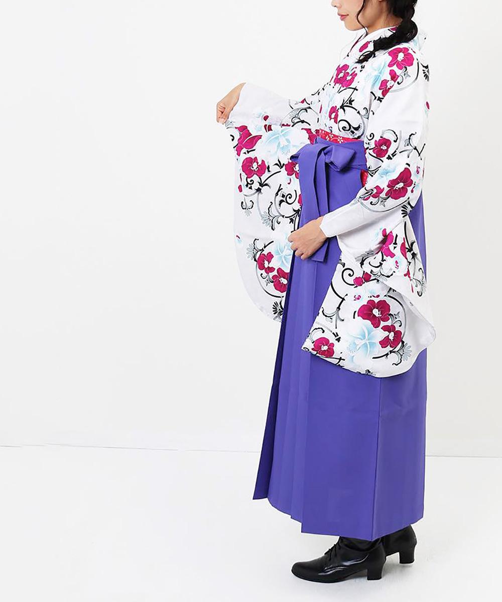 【h】|送料無料|【対応身長157cm〜165cm】【キュート】卒業式レンタル袴フルセット-977|マルチカラー|花柄|蘭|白|紫|