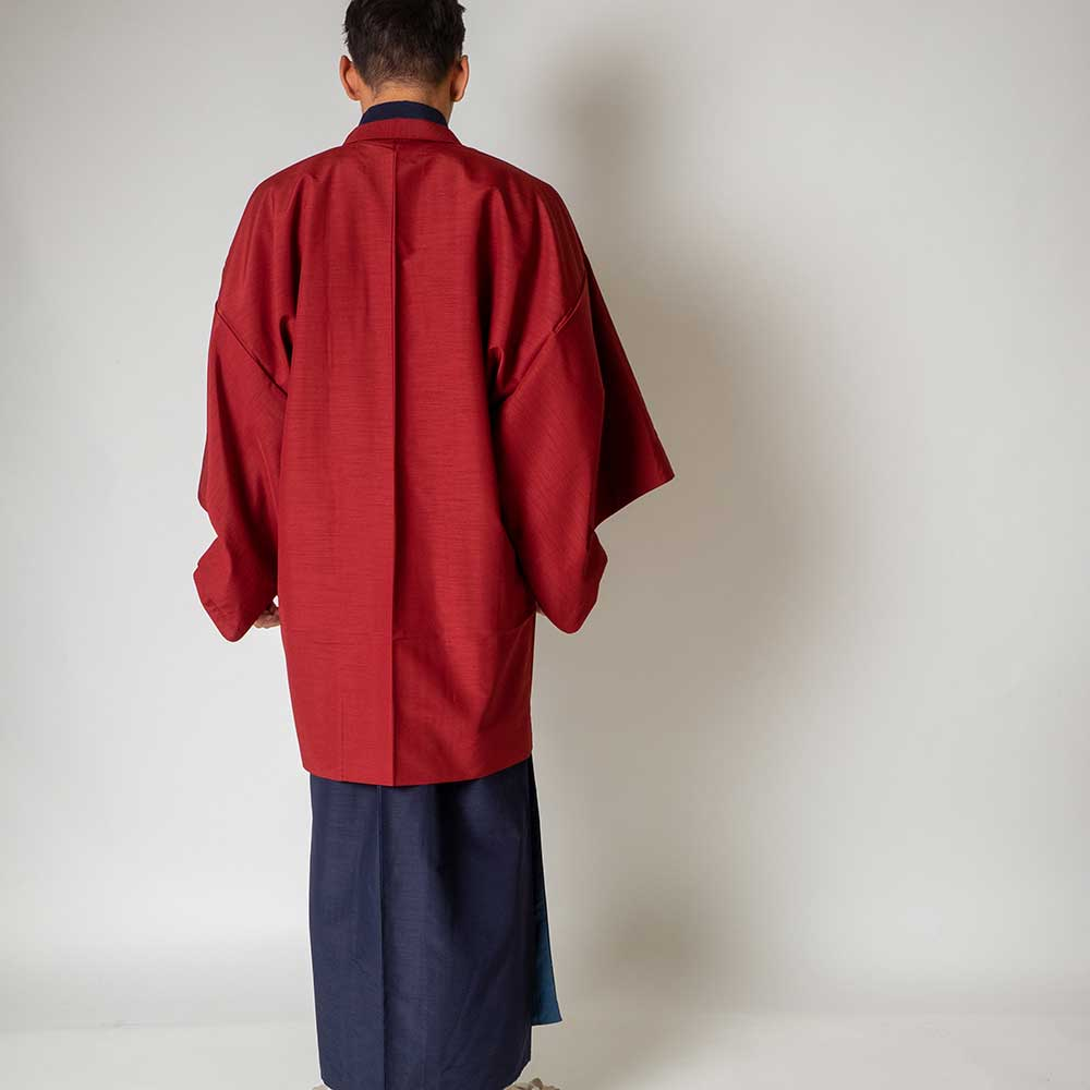 |送料無料|メンズ着物アンサンブル【対応身長170cm〜180cm】【 Lサイズ】フルセットー着物ネイビー×羽織レッド|往復送料無料|和服|お