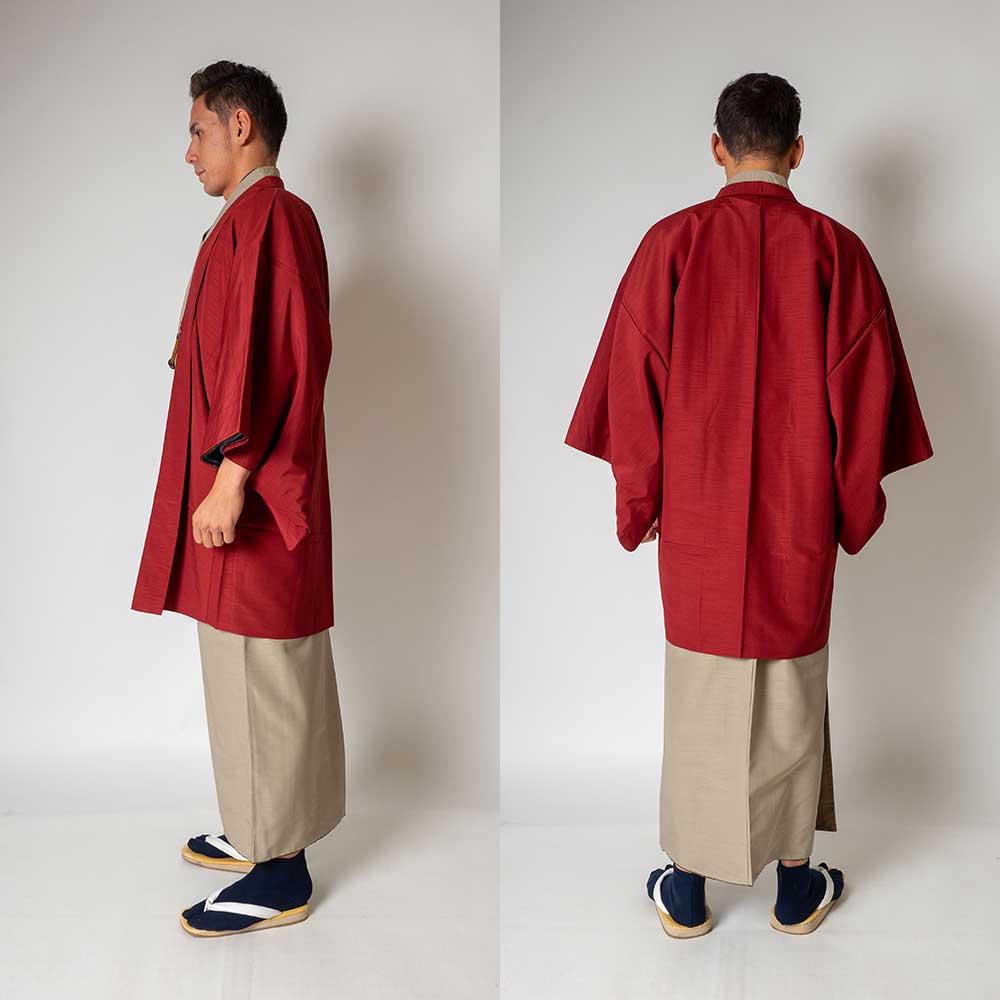 |送料無料|メンズ着物アンサンブル【対応身長165cm〜175cm】【 Mサイズ】フルセットー着物ベージュ×羽織レッド|往復送料無料|和服|お