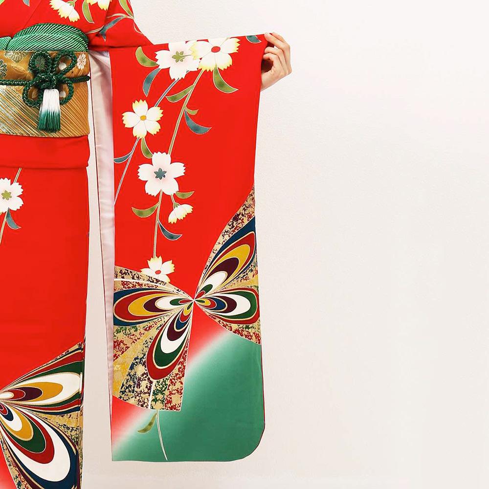 |送料無料|【レンタル】【成人式】 [安心の長期間レンタル]【対応身長155cm〜170cm】【正絹】レンタル振袖フルセット-044|花柄|レトロ|