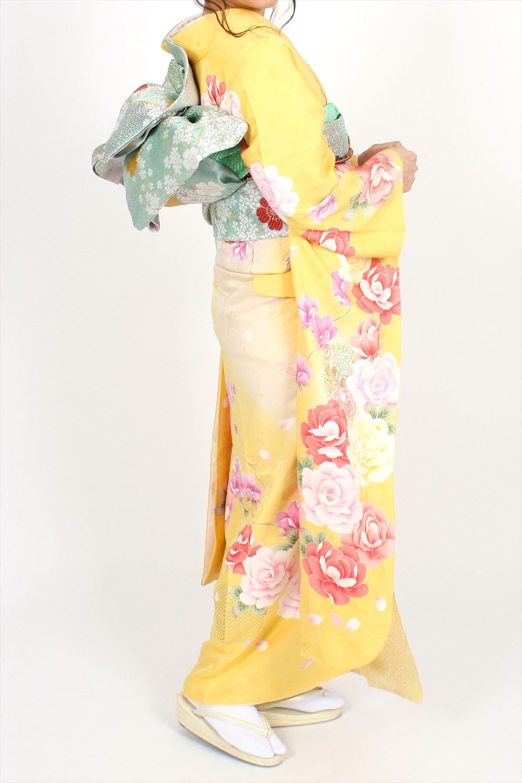 【成人式】 [安心の長期間レンタル]【対応身長150cm〜165cm】【正絹】レンタル振袖フルセット-408|花柄|モダン|ポップキュート|黄色系|ピンク系|洋花|