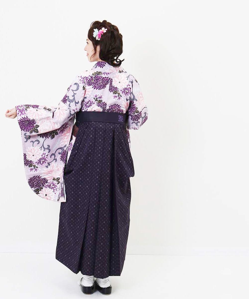  送料無料 【対応身長157cm〜165cm】【正統派】卒業式レンタル袴フルセット-845 マルチカラー 花柄 菊 紫 ピンク 